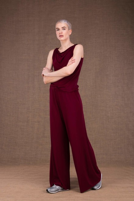 Burgundy knit trousers