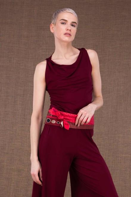 Ceinture-Cravate en soie vintage rouge/bordeaux