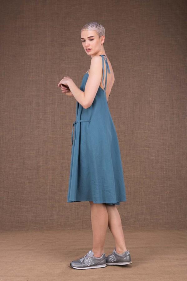 Robe en coton bleu horizon