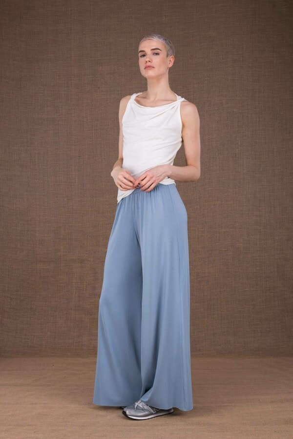 Ananas light blue trousers in viscose knit - 1