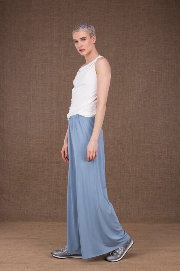 Ananas light blue trousers in viscose knit - 3