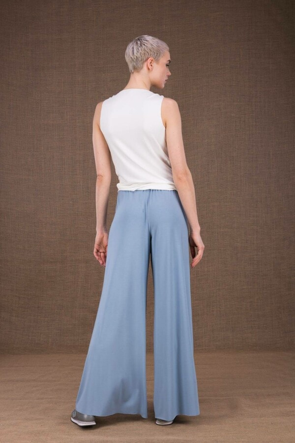 Ananas light blue trousers in viscose knit - 4