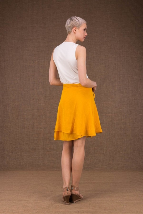 Aria Yellow cotton short wrap skirt - 3