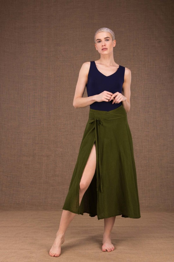 Arial khaki mid-length flared cotton wrap skirt - 2