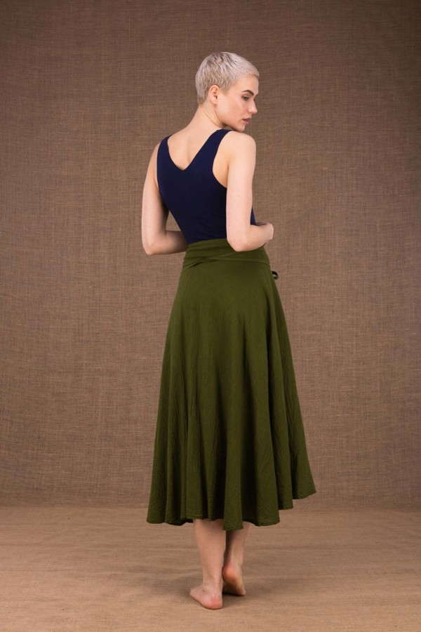 Arial khaki mid-length flared cotton wrap skirt - 3