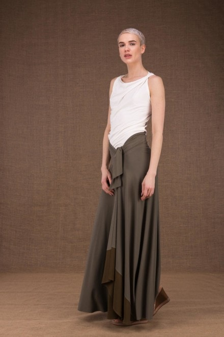 Blizzair long olive skirt in viscose knit 1