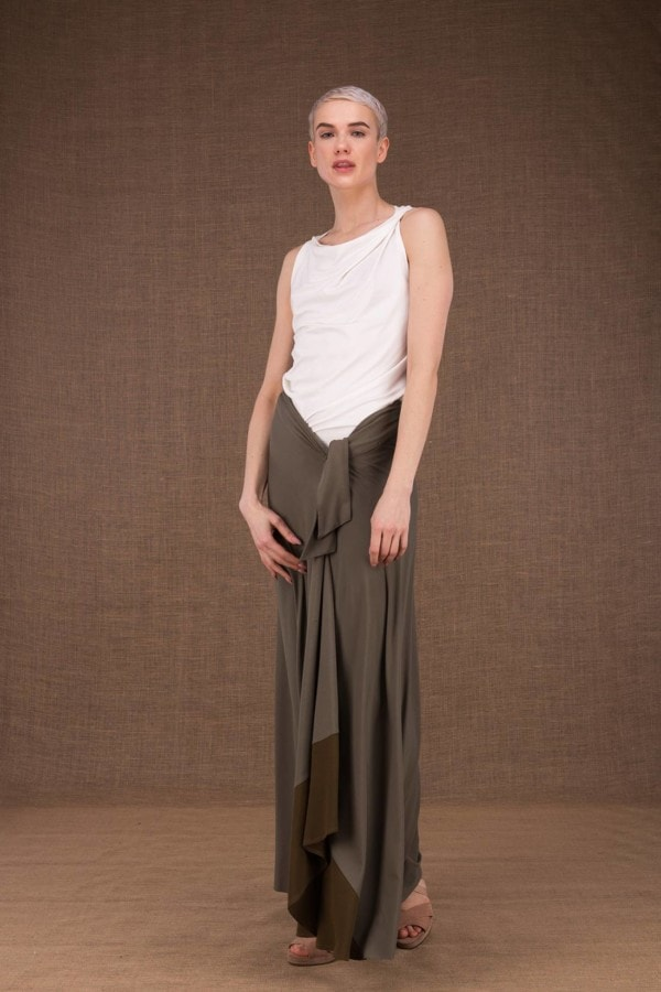 Blizzair long olive skirt in viscose knit -2