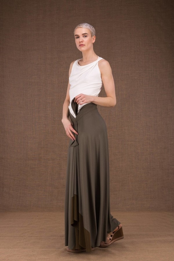 Blizzair long olive skirt in viscose knit -3