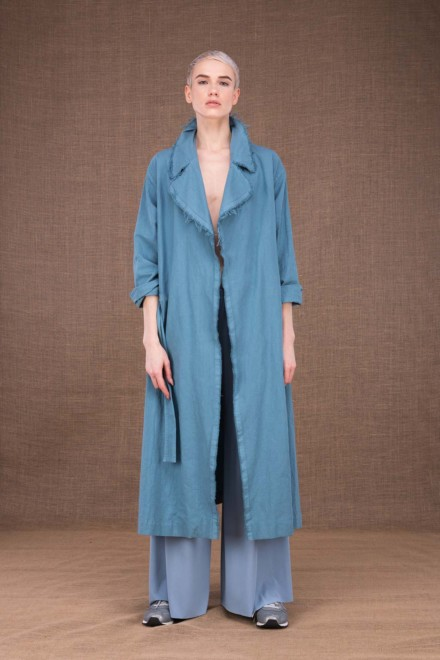 Bogart sky blue cotton trench coat - 1