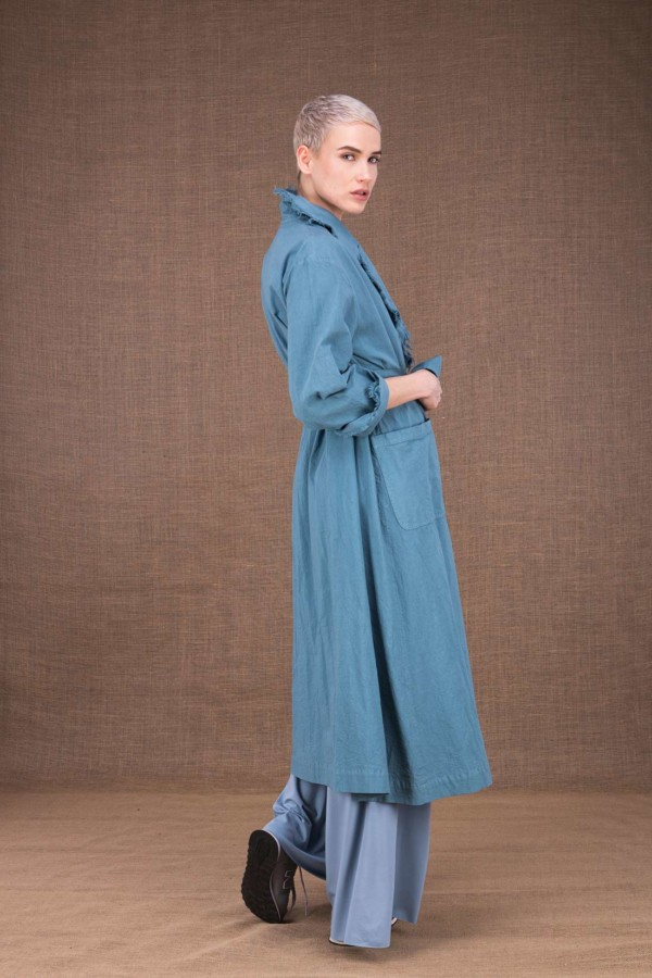Bogart sky blue cotton trench coat - 3