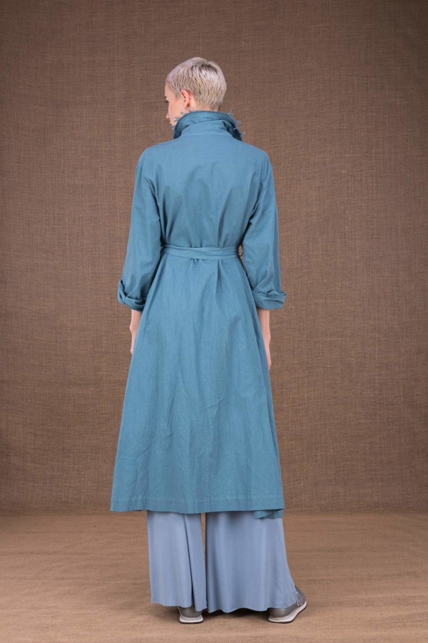 Bogart sky blue cotton trench coat - 4