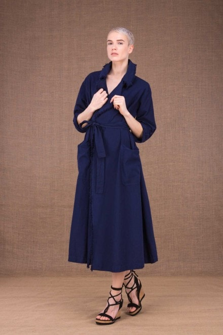 Bogart dark blue trench coat in cotton - 1