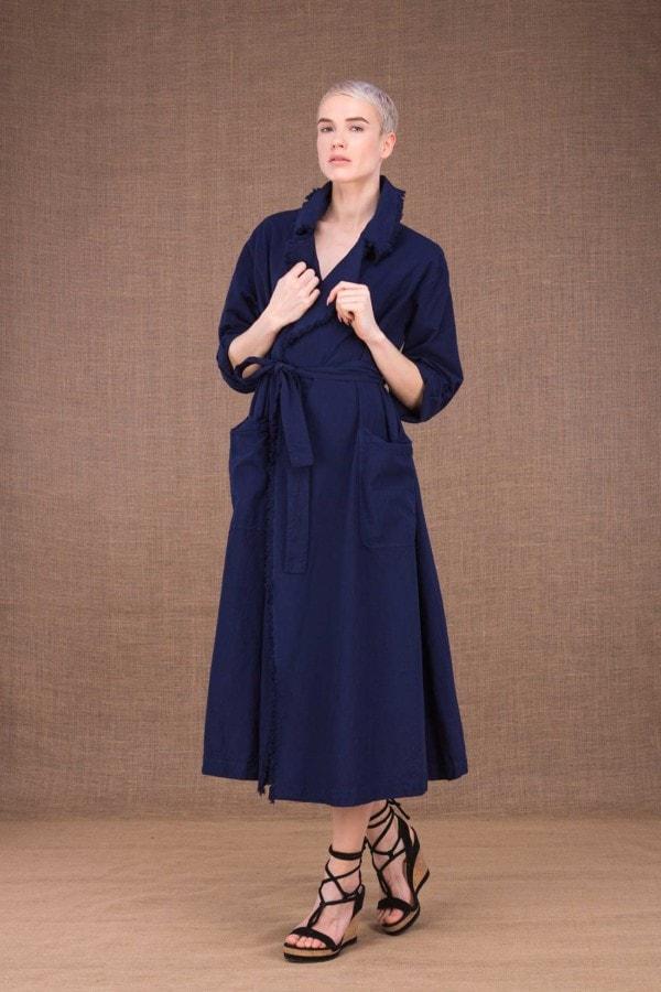 Bogart dark blue trench coat in cotton - 1