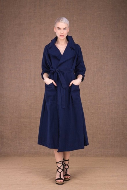 Bogart dark blue trench coat in cotton - 2