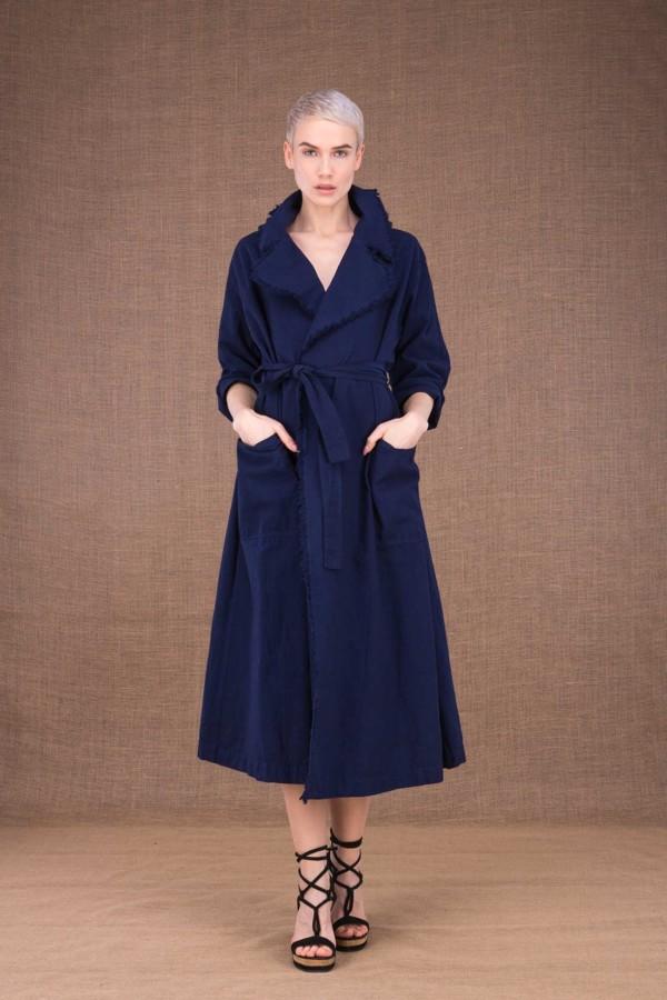 Bogart dark blue trench coat in cotton - 2