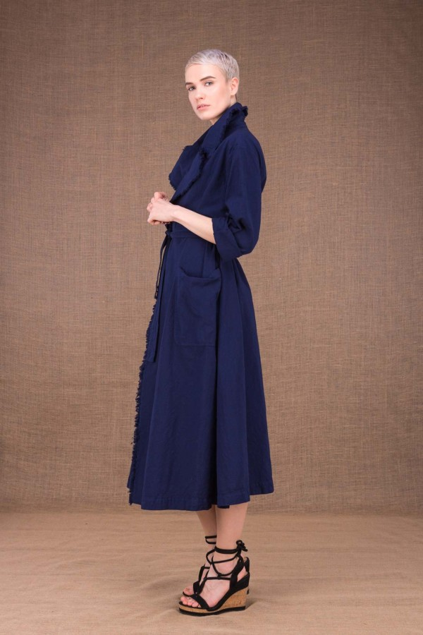 Bogart dark blue trench coat in cotton - 3