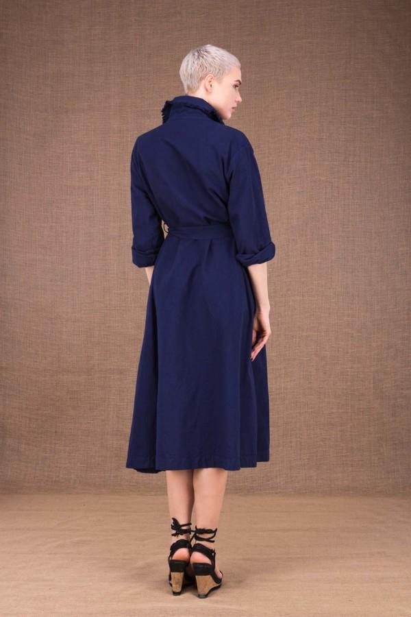 Bogart dark blue trench coat in cotton - 4