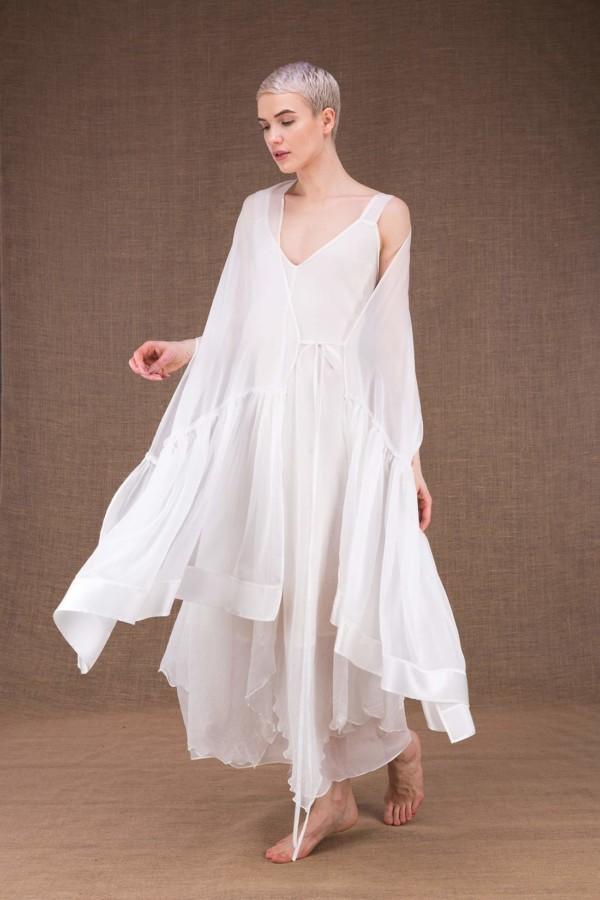 Bora white silk wedding shawl - 1