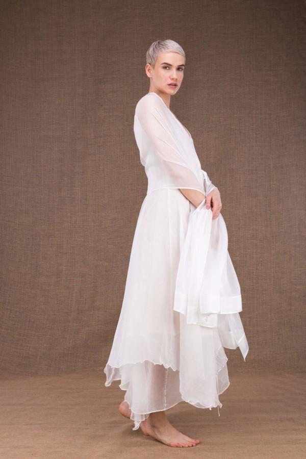 Bora white silk wedding shawl - 3