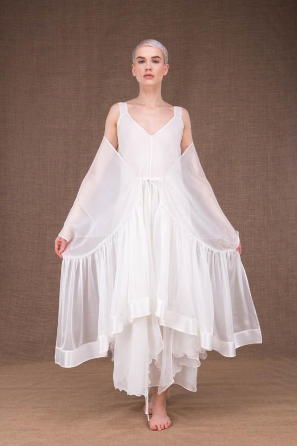 Bora white silk wedding shawl - 4
