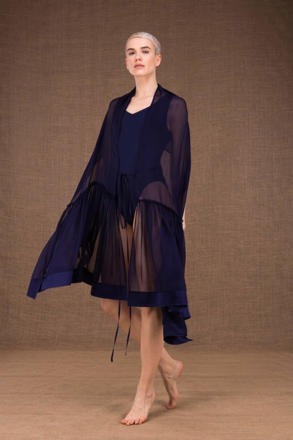 Bora shawl tunic dark blue silk - 2