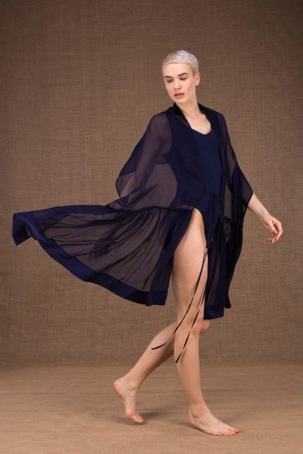 Bora shawl tunic dark blue silk - 3