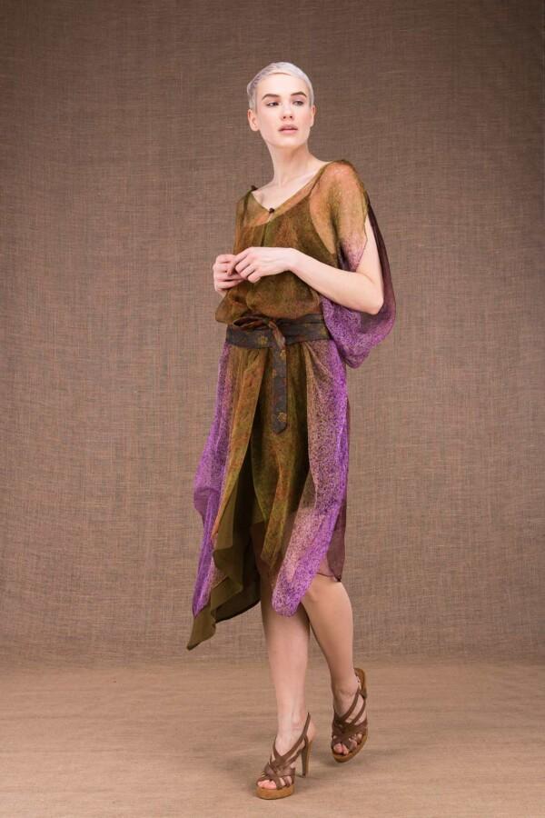 Colibri hand painted silk dress - 1
