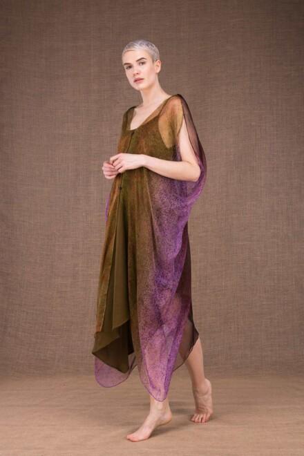 Colibri robe peinte main en soie - 2