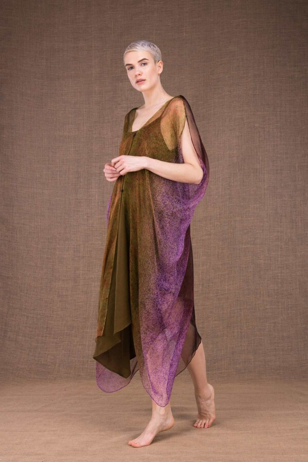 Colibri hand painted silk dress - 2