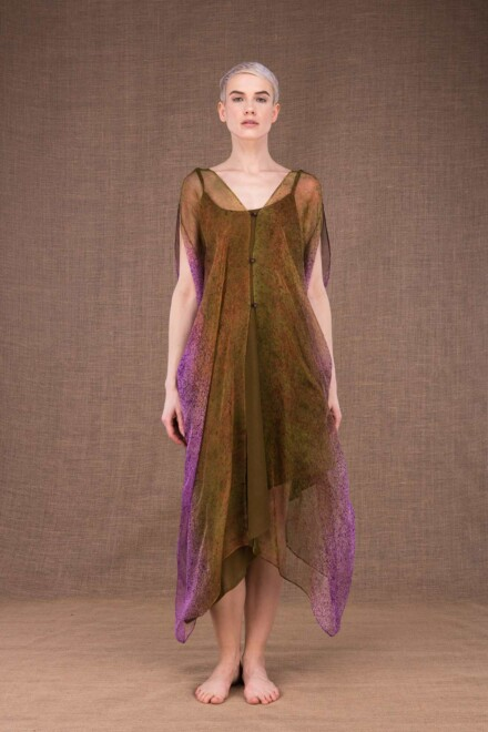 Colibri hand painted silk dress - 3
