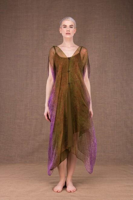 Colibri robe peinte main en soie - 3