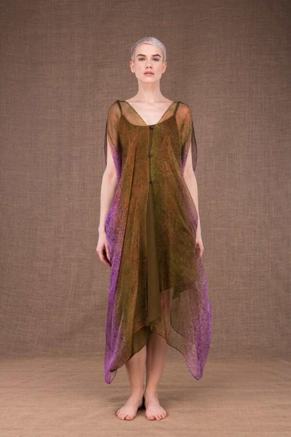Colibri hand painted silk dress - 3