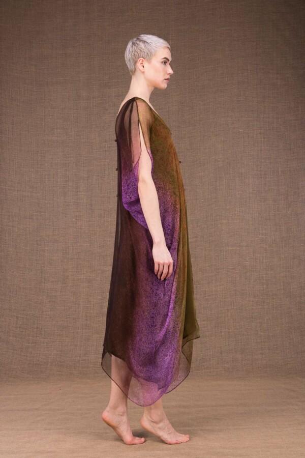 Colibri hand painted silk dress - 4