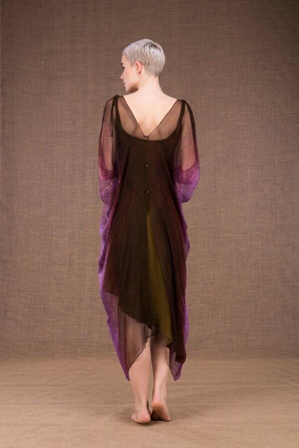 Colibri hand painted silk dress - 5