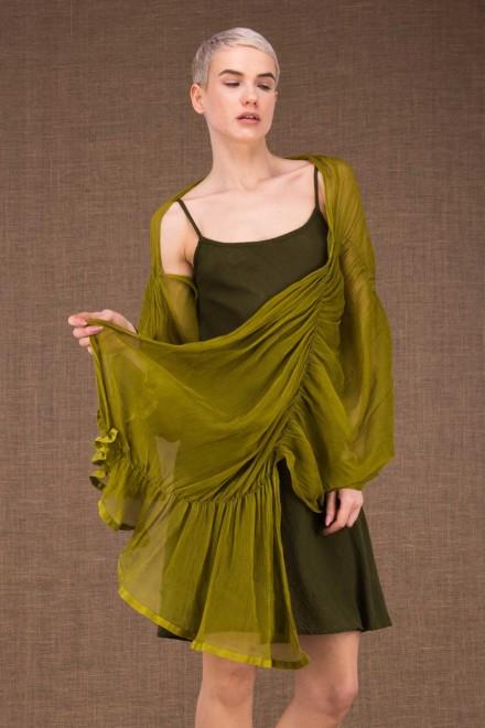 Cumulus shawl pistachio in silk - 1