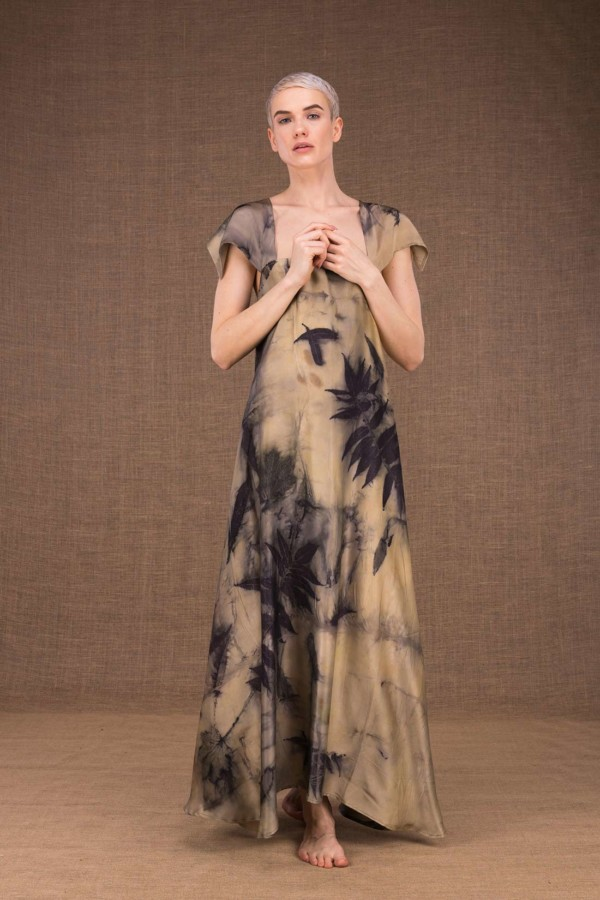 Gaia long silk dress handmade prints - 2