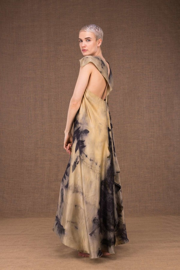 Gaia long silk dress handmade prints - 3