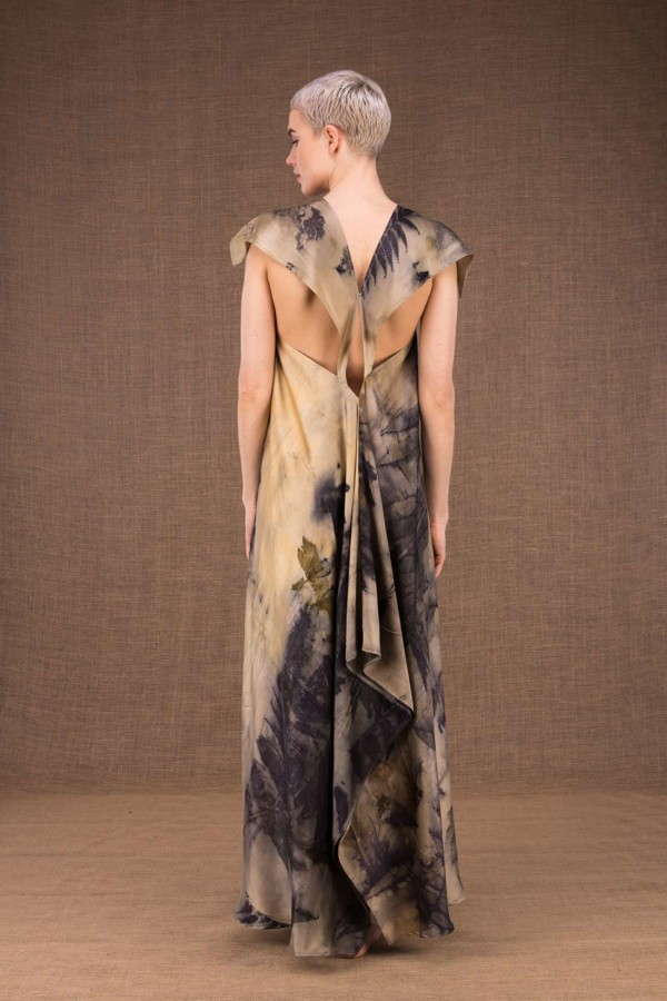 Gaia long silk dress handmade prints - 4