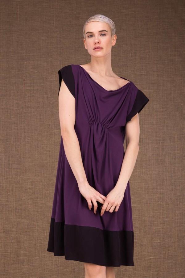 Gipsy plum short dress in viscose knit - 1