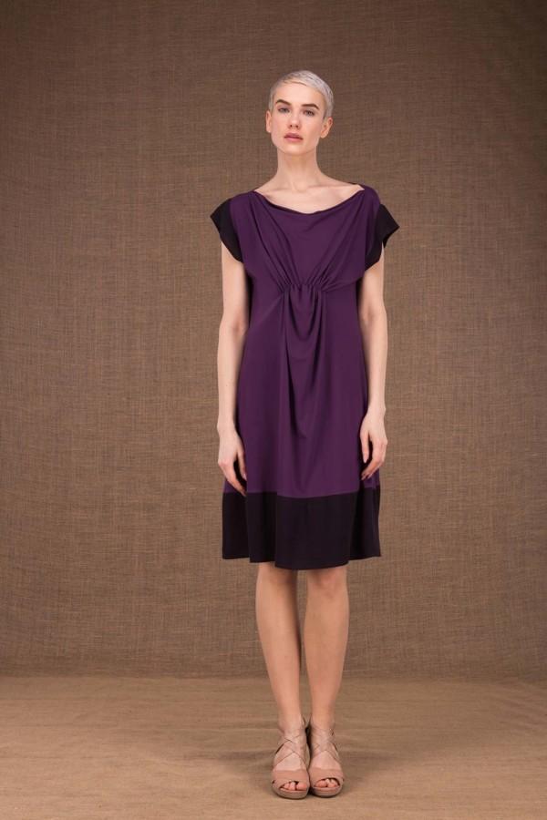 Gipsy plum short dress in viscose knit - 2