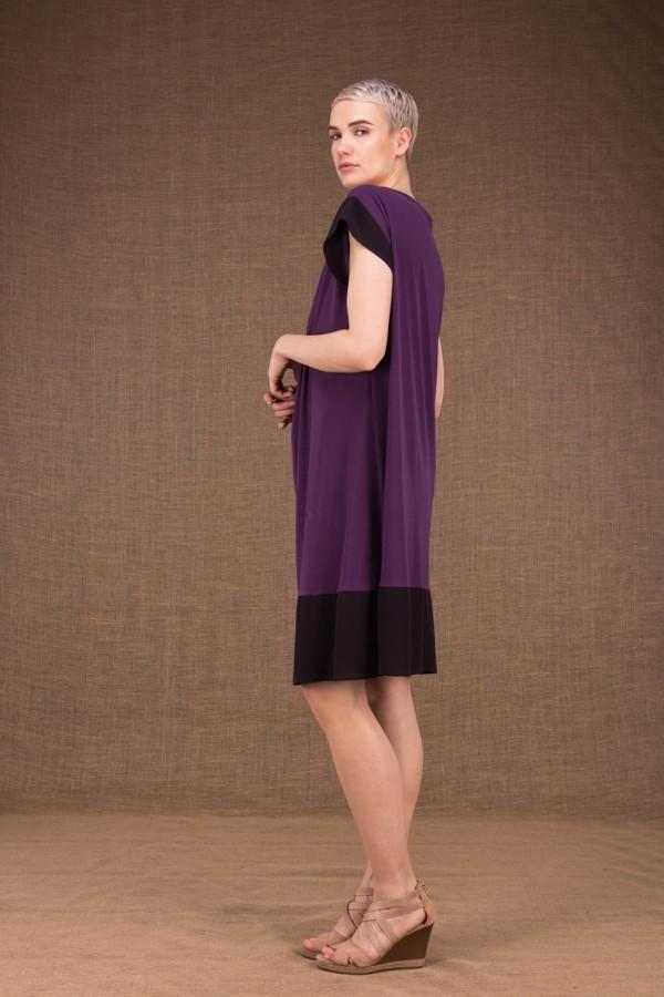 Gipsy plum short dress in viscose knit - 3