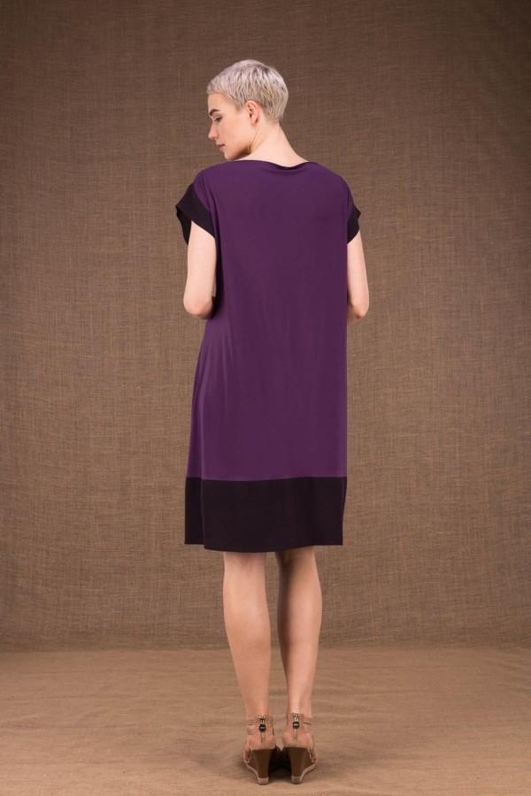 Gipsy plum short dress in viscose knit - 4