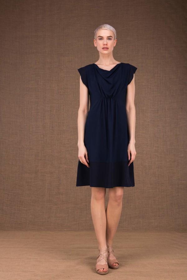 Gipsy robe mi courte bleu fonce en maille-de-viscose - 1