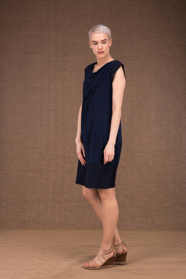 Gipsy robe mi courte bleu fonce en maille-de-viscose - 2