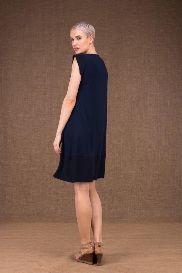 Gipsy robe mi courte bleu fonce en maille-de-viscose - 3
