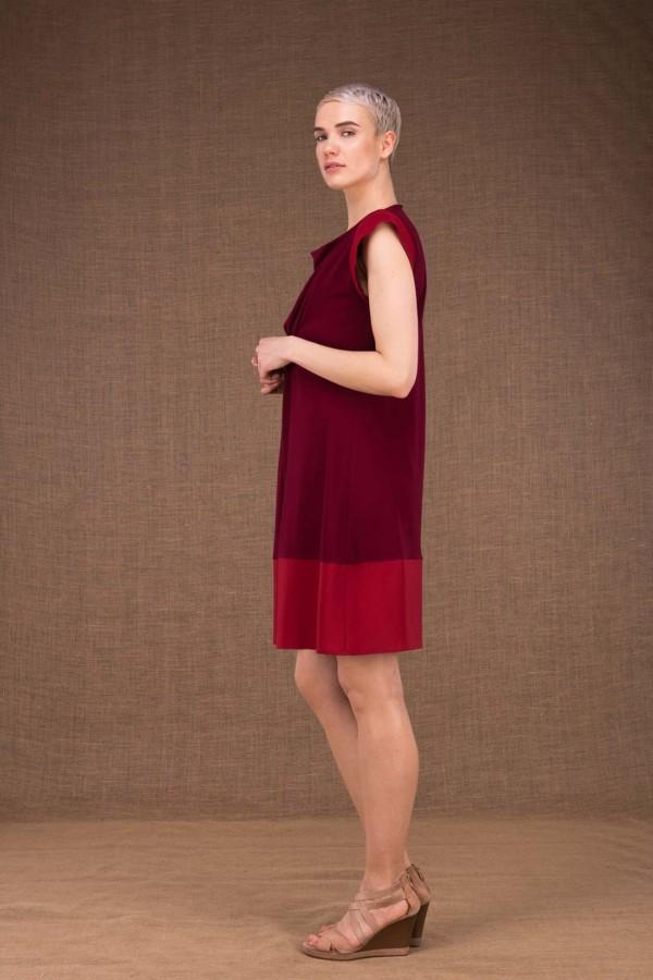Gipsy robe mi courte bordeaux en maille de viscose - 3