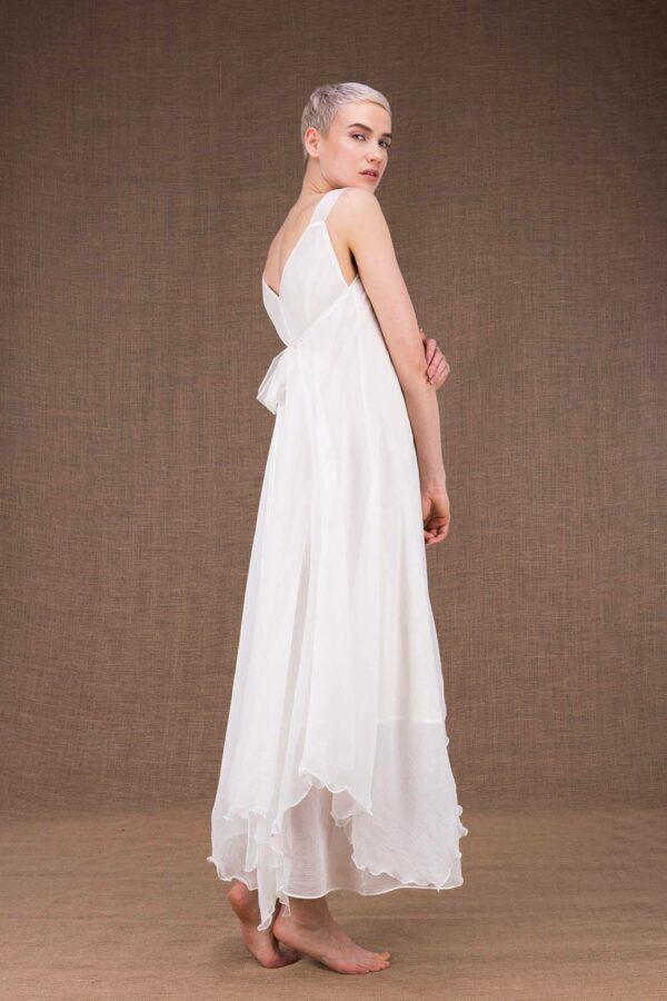 Jade robe longue blanche en soie - 1