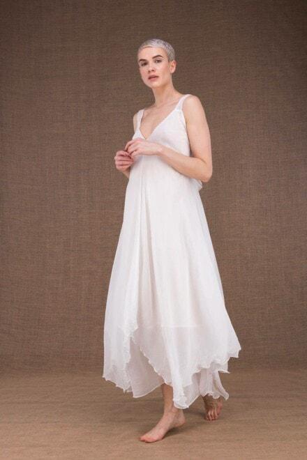Jade robe longue blanche en soie - 2