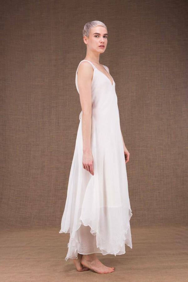 Jade robe longue blanche en soie - 3