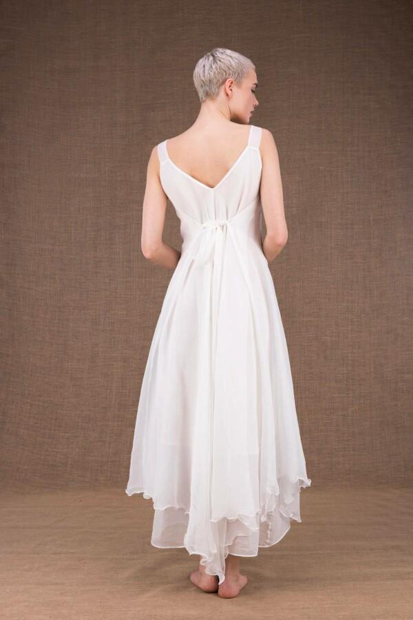 Jade robe longue blanche en soie - 4